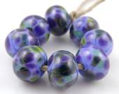 Periwinkle Pop SRA Lampwork Handmade Artisan Glass Donut/Round Beads READY to SHIP Set of 8 8x12mm