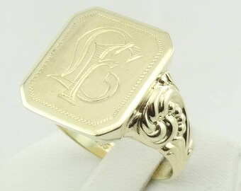 """Magnificent Vintage 14K Yellow Gold Mens Signet Ring Engraved With """"L and F"""" Letters FREE SHIPPING  #LF14K-SR"""