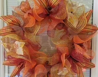 SALE Fall Wreath, Autumn Wreath, Seasons Wreath, Deco Mesh Wreath, Mesh Wreath, Rustic Wreath, Ribbon Wreath, Seasons Wreath