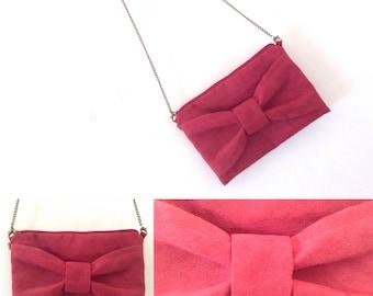 Burgundy Red suede shoulder bag, bow, removable handle