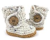 Baby First Shoes, Tan Prewalker Crochet Booties, Soft Sole Oatmeal Gender Neutral Infant Booty, Ivory and Warm Brown Newborn Boots for Girl