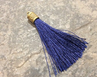 Navy Blue Silk tassels with Antique Bronze Filigree Caps Beautiful tassels for Jewelry Making Fall Color Tassels