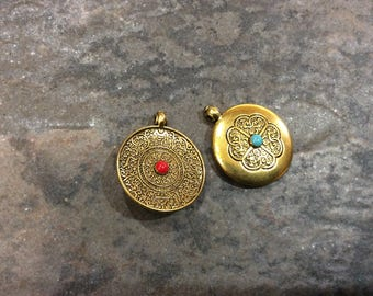 Tibetan Lapis and Carnelian resin pendant charms in brass finish Gorgeous jewelry making pendants Reversible pendants sold by the piece