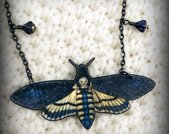 Moth Necklace - Moth Jewelry - Death's Head Moth - Hawkmoth - Silence of the Lambs - Spooky Jewelry - Vintage Moth Art - Shrink Plastic Art