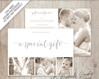 Photography Gift Certificate Template - Photo Gift Card - Design #8 - INSTANT DOWNLOAD - Layered .PSD Files