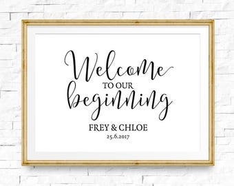 Welcome to our beginning, Wedding sign, Welcome signs, Personalised wedding print, Wedding welcome, Custom name wedding, Welcome printable