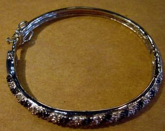 Vintage Black and white Crystal hinged bangle bracelet