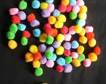 """70 mix colors Pom Pom  1/2"""" wide"""