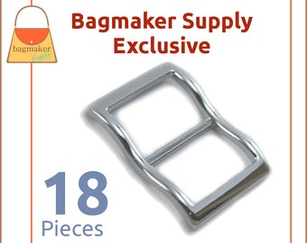 1 Inch Large Mouth Curved Slide Buckles for Thick Straps, Nickel Finish, 18 Pack, Great For Leather, Handbag Hardware, BKS-AA126