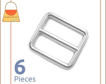 "1 Inch Slide for Purse Straps, Shiny Nickel Finish, 6 Pieces, Handbag Purse Bag Making Hardware Supplies, 1"", BKS-AA006"