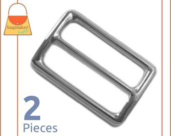 "1.5 Inch Slide for Purse Straps, Shiny Nickel Finish, 2 Pieces, Handbag Purse Bag Making Hardware Supplies, 1-1/2"", 1.5"", BKS-AA025"