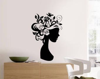Floral Girl, Floral Sticker, Flowers, Interior Sticker, Window Sticker, Wall Decal, Wall Decor, Wall Sticker, Nature