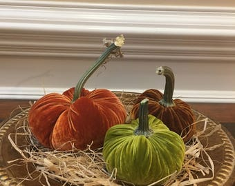 Silk Velvet Pumpkins -Fall Delight Silk Velvet Pumpkins