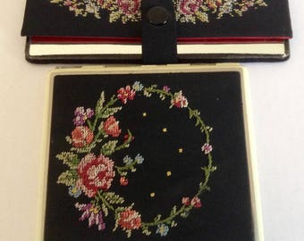 Vintage Ladies Cigarette/Card Case with matching Mirror. Beautiful embroidered petit point Floral Bouquet set on black.
