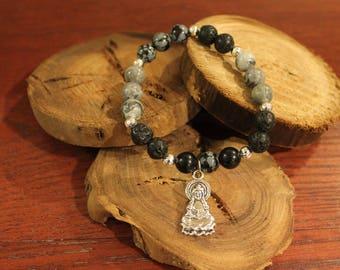 Speckled Obsidian, lava stone and Picasso Jasper bracelet.