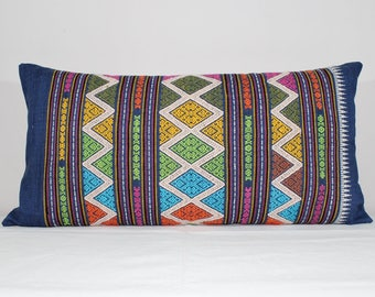 "14""x28"" Hand Woven Ikat Cotton Pillow Cover/Handmade Vibrant Colors Laos Geometric Pattern Ethnic Pillow/Tribal Decorative Pillow/Boho Decor"