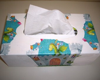 dragon and castles design wood tissue box