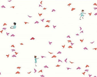 Wee Wander-with the birds-pink/orange-END OF BOLT - 1 3/4 yard