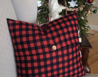 Red and Black Plaid Pillow Cover, Christmas Pillow, Plaid Pillow, Black and Red Tartan Pillow, Holiday Cushion, Holiday Decor,
