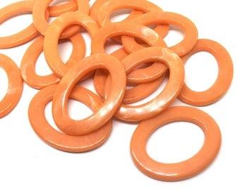 Orange Peel Oval statement jewelry beads, 39mm Oval Beads, bracelet beads, wire bangle beads, tassel necklace, connector bead, orange oval