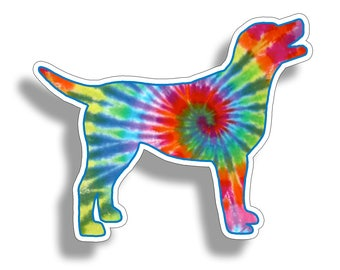 Lab Labrador Colorful Tie Dye Dog Sticker Die Cut Digitally Printed Vinyl Graphic for Cup Cooler Car Truck Window Southern Die