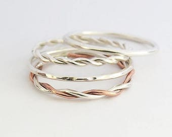 Summer sale 25% Off Set of 4 Stacking Rings - Mixed Metal Silver & Copper Stacking Ring  - Sterling Silver Stacking Rings