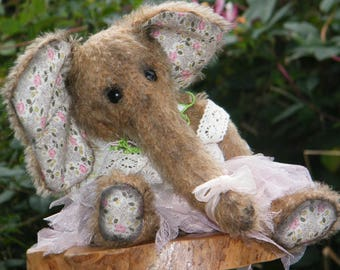Mohair Artist Elephant Peony - beautiful mohair fairy elephant with floral print ears and paws