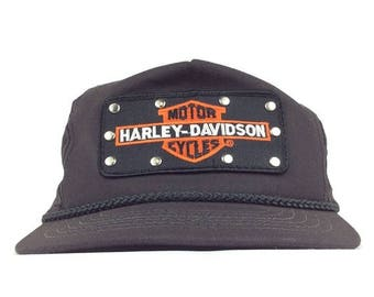 On Sale Now 80s Harley Davidson Front Patch Logo Black Baseball Cap Hat Adjustable Leather Strapback Adult Size Made in USA