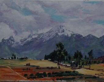 Original Landscape Oil Painting - Andes Mountain Village
