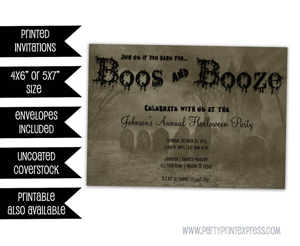 Adult Halloween Invitation Graveyard Haunted House Party