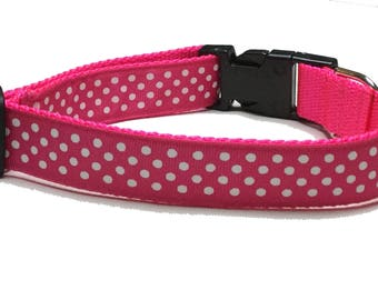 Dog Collar, Swiss Dots White on Pink