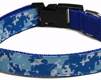Dog Collar, Camo - Digital Blue