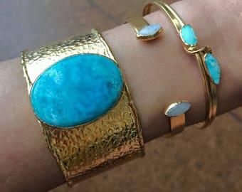 Turquoise Cuff Bracelet // Gold Cuff Bracelet // Turquoise Bracelet