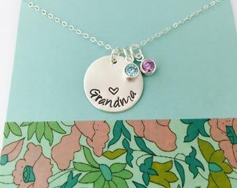 Grandma Birthstone Necklace, Sterling Silver Grandma Necklace, Gigi Necklace, Mimi Necklace, Personalized Grandma Necklace, Grandma Initial