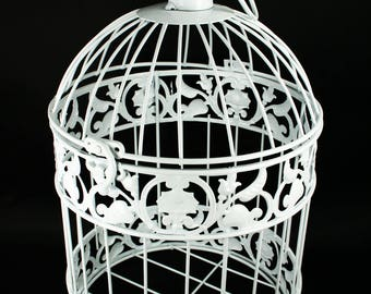 Decorative White Metal Bird Cage Wedding or Home Table Decor Choose Size