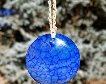 NEW! Royal Blue Dragon's Vein Agate Hemp Necklace