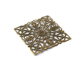 40 mm bronze filigree square print colors / ES007