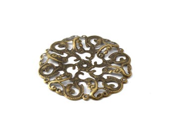 Round filigree engraving bronze color 44 mm / ES003
