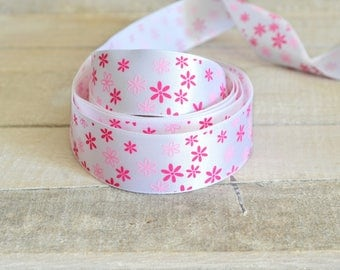 25 mm printed pink flowers white satin ribbon