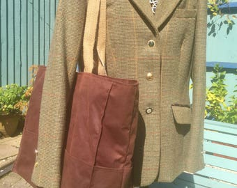 Handmade Large Waxed Canvas Rustic Tote Bag