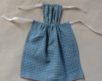 Blue checked doll apron