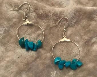 Turquoise Coloured Gemstone Hoop Earrings