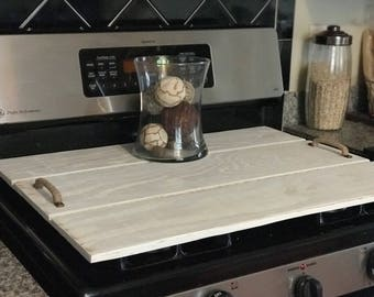 Wood Stove Cover -Oven, Wood Tray, Shiplap Style Cover