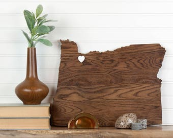 Oregon state shape wood cutout sign wall art with star or heart. Repurposed Oak flooring 12x17 in. Wedding Country Chic Cabin Rustic Decor
