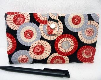 Black Red Japanese fabric checkbook patterns umbrellas