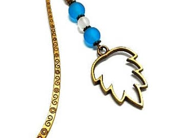 Bookmark bronze jewelry, leaf and turquoise beads