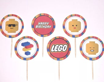 Lego theme cupcake toppers