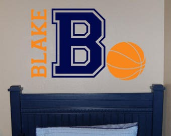 Personalized Basketball Name Decal - Custom Vinyl wall decals stickers, nursery, kids & teens room, removable decals stickers