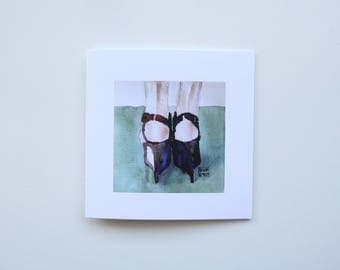 Marni Heels Watercolor Square Greeting Card, Notecard, Birthday, Thank you, Love, Holiday, Wedding, Shower, Graduation