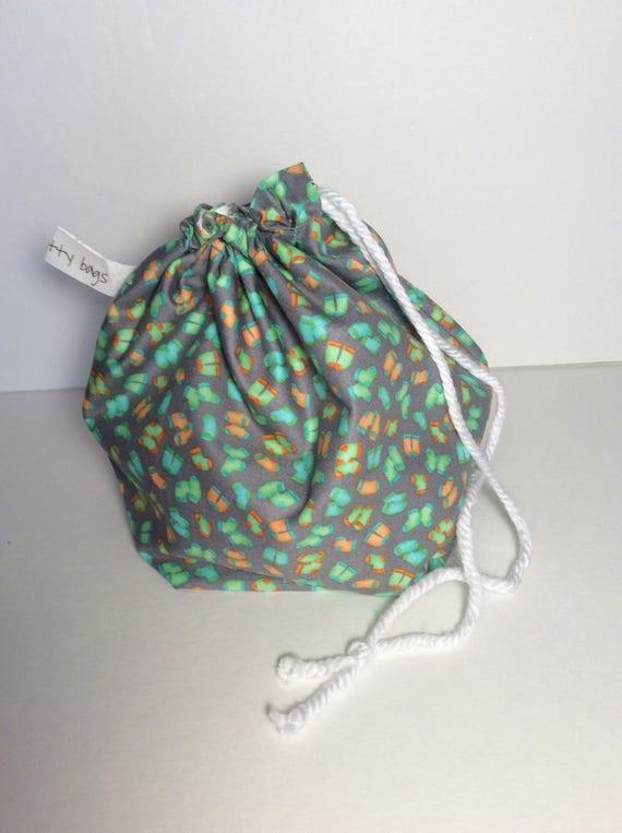 Drawstring project bag, project bag, knitting, crochet, bag, drawstring bag, yarn, yarn bag, fabric bag, sock knitting bag, sock fabric